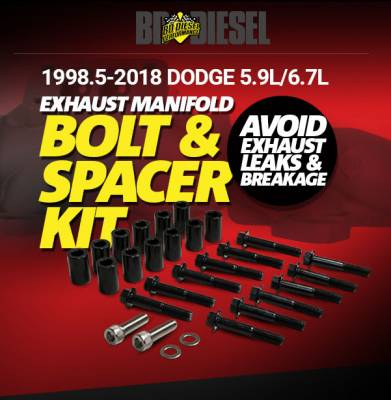 BD Diesel - Exhaust Manifold Bolt & spacer kit 5.9/6.7 Cummins