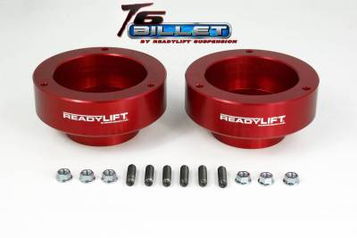 Steering And Suspension - Lift Kits/Leveling Kits - ReadyLift - ReadyLift 2.0in. T6 BILLET ALUMINUM LEVELING KIT ANODIZED, RED IN COLOR T6-1090-R