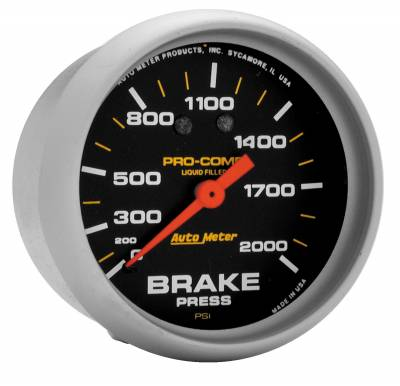 Brake Systems - Auto Meter - Auto Meter Gauge; Brake Press; 2 5/8in.; 2000psi; Liquid Filled Mech; Pro-Comp 5426
