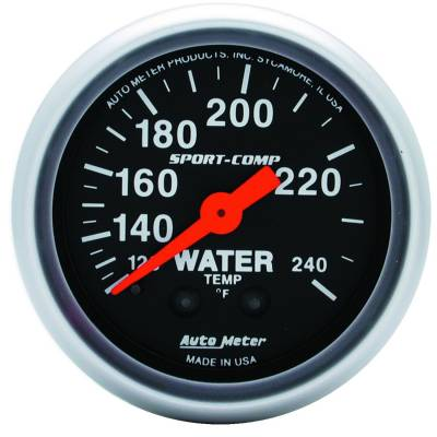 Engine Parts - Cooling System - Auto Meter - Auto Meter Gauge; Water Temp; 2 1/16in.; 120-240deg. F; Mechanical; 12ft.; Sport-Comp 3333