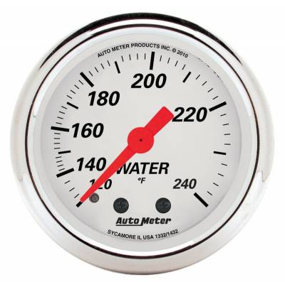 Engine Parts - Cooling System - Auto Meter - Auto Meter Gauge; Water Temp; 2 1/16in.; 120-240deg. F; Mech; Arctic White 1332