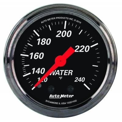 Engine Parts - Cooling System - Auto Meter - Auto Meter Gauge; Water Temp; 2 1/16in.; 120-240deg. F; Mech; Designer Black 1432