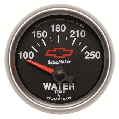 Engine Parts - Cooling System - Auto Meter - Auto Meter Gauge; Water Temp; 2 1/16in.; 100-250deg. F; Electric; GM Bowtie Black 3637-00406