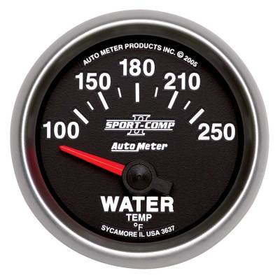 Engine Parts - Cooling System - Auto Meter - Auto Meter Gauge; Water Temp; 2 1/16in.; 100-250deg. F; Electric; Sport-Comp II 3637
