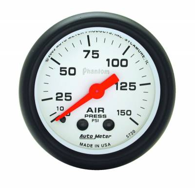 Gauges And Pods - Auto Meter - Auto Meter Gauge; Air Press; 2 1/16in.; 150psi; Mechanical; Phantom 5720