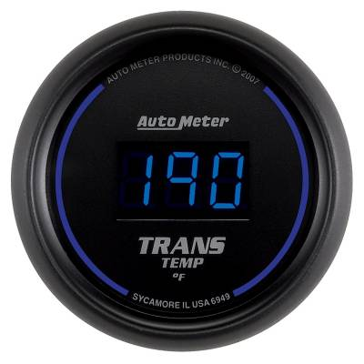 Transmission - Transmission Overhaul Kits And Parts - Auto Meter - Auto Meter Gauge; Trans Temp; 2 1/16in.; 340deg. F; Digital; Black Dial w/Blue LED 6949