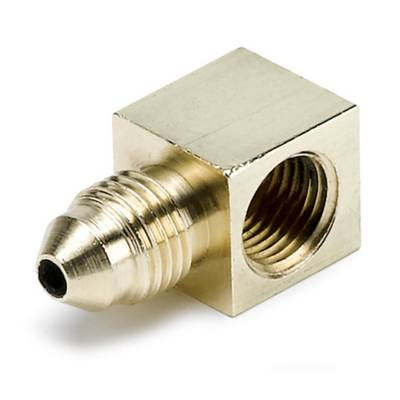 Piping/Tubing - Plugs - Auto Meter - Auto Meter Fitting; Adapter; 90deg. ; 1/8in. NPTF Female to-3AN Male; Brass 3270
