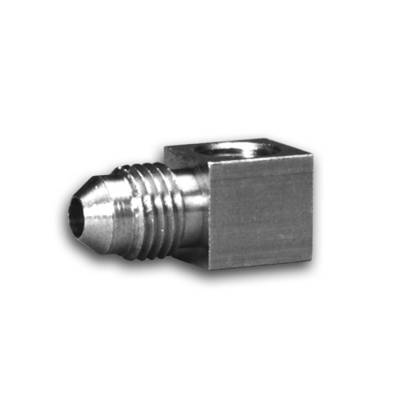Piping/Tubing - Plugs - Auto Meter - Auto Meter Fitting; Adapter; 90deg. ; 1/8in. NPTF Female to-4AN Male; Brass 3271