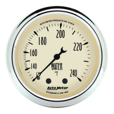 Engine Parts - Cooling System - Auto Meter - Auto Meter Gauge; Water Temp; 2 1/16in.; 120-240deg. F; Mech; Antique Beige 1832