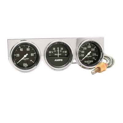 Gauges And Pods - Gauges - Auto Meter - Auto Meter Gauge Console; OILP/WTMP/AMP; 2 5/8in.; 100psi/280deg. F/60A; Blk Dial; Chrome B 2395
