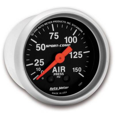 Gauges And Pods - Auto Meter - Auto Meter Gauge; Air Press; 2 1/16in.; 150psi; Mechanical; Sport-Comp 3320