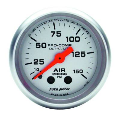 Gauges And Pods - Auto Meter - Auto Meter Gauge; Air Press; 2 1/16in.; 150psi; Mechanical; Ultra-Lite 4320