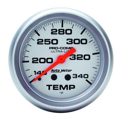 Engine Parts - Cooling System - Auto Meter - Auto Meter Gauge; Temperature; 2 5/8in.; 140-340deg. F; Mechanical; 8ft.; Ultra-Lite 4435