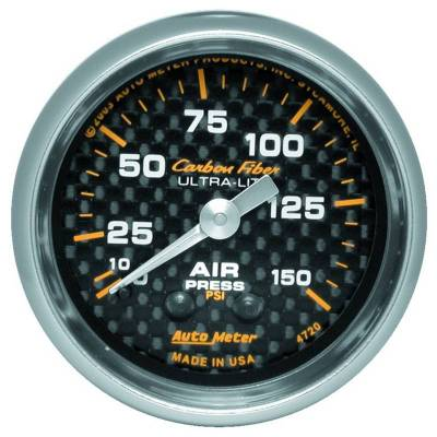 Gauges And Pods - Auto Meter - Auto Meter Gauge; Air Pressure; 2 1/16in.; 150psi; Mechanical; Carbon Fiber 4720