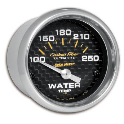 Engine Parts - Cooling System - Auto Meter - Auto Meter Gauge; Water Temp; 2 1/16in.; 100-250deg. F; Electric; Carbon Fiber 4737