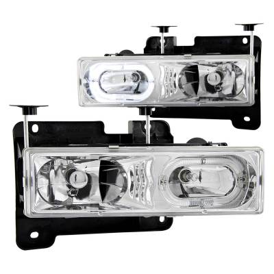 Lighting - Headlights - Anzo USA - Anzo USA Crystal Headlight Set; w/Halo 111006