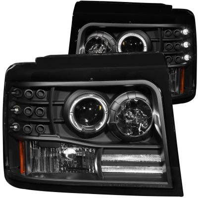 Lighting - Headlights - Anzo USA - Anzo USA Projector Headlight Set; w/Halo 111184