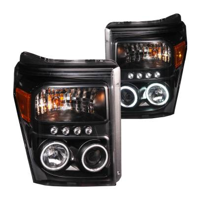 Lighting - Headlights - Anzo USA - Anzo USA Projector Headlight Set; w/Halo 111271
