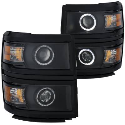 Lighting - Headlights - Anzo USA - Anzo USA Projector Headlight Set; w/Halo 111344